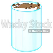 Happy Relaxed Brown Cow With Horns, Leisurely Floating And Taking A Swim In A Tall Glass Of Milk Clipart Illustration © Dennis Cox #17231