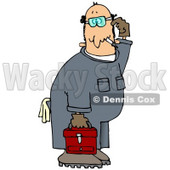 Confused Male Caucasian Mechanic In Blue Coverals, Carrying A Red Toolbox And Scratching His Head Clip Art Illustration © djart #17232
