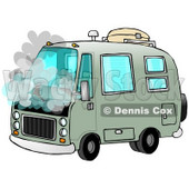 Broken Down Green Rv Motorhome Pulled Over On The Side Of The Road With Smoke Coming Out Of The Engine Compartment Clip Art Illustration © Dennis Cox #17235