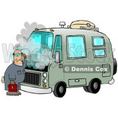 Confused Male Mechanic Scratching His Head While Standing In Front Of A Broken Down Green Rv With Smoke Rising From Under The Engine Hood Clip Art Illustration © Dennis Cox #17236