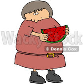 Caucasian Girl Or Woman In In Pink Dress, Eating A Juicy Red Slice Of Watermelon On A Hot Summer Day Clip Art Illustration © Dennis Cox #17240