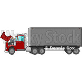 Caucasian Mechanic Man In Coveralls And A Red Hat, Working On The Engine Of A Big Red 18 Wheeler Semi Truck Clipart Illustration © Dennis Cox #17241