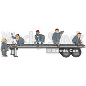 Group Of Worker Men In Blue Coveralls Using Tools To Fix Or Build A Trailer For A Big Rig Clipart Illustration © Dennis Cox #17244