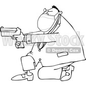 Cartoon Man Wearing a Mask Kneeling and Pointing a Gun © djart #1724464