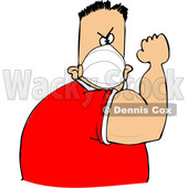 Cartoon Man Wearing a Mask and Flexing His Bicep © djart #1724469