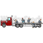 Group Of Worker Men In Blue Coveralls Using Tools To Fix Or Build A Flatbed Trailer That Is Attached To A Red Big Rig Truck Clipart Illustration © Dennis Cox #17245