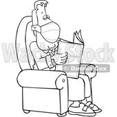 Cartoon Business Man Wearing a Mask and Reading a Newspaper © djart #1724651