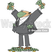 Cartoon Rich Businessman Wearing a Mask and Standing in a Pile of Money © djart #1724653