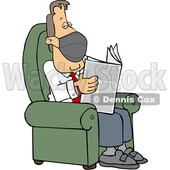 Cartoon Businessman Wearing a Mask and Reading a Newspaper © djart #1724654