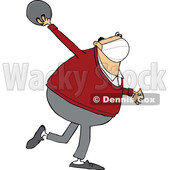Cartoon Chubby Man Wearing a Mask and Bowling © djart #1725093