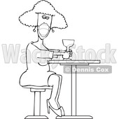 Cartoon Woman Sitting with a Cocktail and Wearing a Mask © djart #1725266