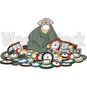 Cartoon Woman Wearing a Mask in a Pile of Clocks for Daylight Savings © djart #1725268