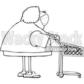 Cartoon Lady Wearing a Mask and Standing with a Shopping Cart © djart #1726962