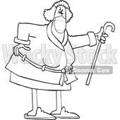 Cartoon Angry Old Lady Wearing a Mask and Shaking Her Cane © djart #1726963