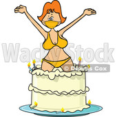 Cartoon Woman Wearing a Mask and Bikini and Popping out of a Birthday Cake © djart #1726969