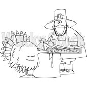Cartoon Male Pilgrim Wearing a Mask and Butchering a Turkey © djart #1727737