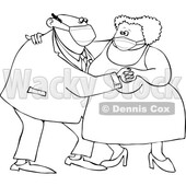Cartoon Old Couple Wearing Masks and Dancing © djart #1727738