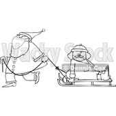 Cartoon Santa Wearing a Face Mask and Pulling Mrs Claus on a Sled © djart #1727742