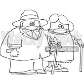 Cartoon Old Couple Wearing Masks and Walking with Canes © djart #1727743