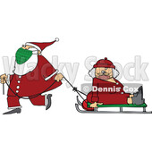 Cartoon Santa Wearing a Mask and Pulling Mrs Claus on a Sled © djart #1727751