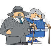 Cartoon Old Couple Wearing Masks and Walking with Canes © djart #1727752