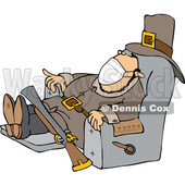 Cartoon Pilgrim Wearing a Mask and Napping in a Chair © djart #1728326