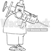 Cartoon Tired Nurse Wearing a Mask and Carrying a Giant Syringe © djart #1728612