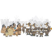 Cartoon Group of Pilgrims Wearing Masks and Offering a Dead Turkey to Native Americans © djart #1728619