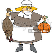 Cartoon Pilgrim Woman Holding a Turkey and Pumpkin and Wearing a Mask © djart #1728620