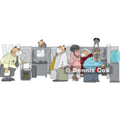 Cartoon Office Workers Wearing Masks © djart #1728621