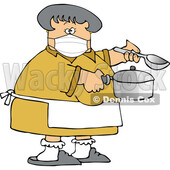 Cartoon Lady Wearing a Mask and Cooking © djart #1728626