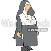 Cartoon Unhappy Nun Wearing a Mask © djart #1738828