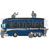 5 Male Mechanics In Coveralls, Working Together To Fix And Repair A Luxurious Blue Bus Conversion Rv Motorhome Clipart Illustration © djart #17399