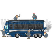 5 Male Mechanics Working Together To Fix And Repair A Broken Down and Smoking Luxurious Blue Bus Conversion Rv Motorhome Clipart Illustration © Dennis Cox #17400