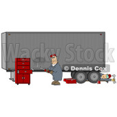 Two Male Mechanics Working On A Tractor Trailer, One Fixing A Dent In The Side Of A Semi While The Other Man Rolls Out From Underneath Clipart Illustration © Dennis Cox #17411