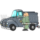 Male Caucasian Mechanic In Green Coveralls, Holding Tools And Repairing A Blue Work Truck Clipart Illustration © djart #17413