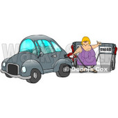 Blond Caucasian Woman Inserting A Gasoline Pump Into Her Vehicle To Fill It At A Gas Station Up Before Commuting To Work Clipart Illustration © djart #17416