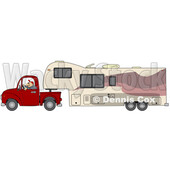 man driving a pickup truck and hauling a camper fifth wheel trailer © djart #1741861