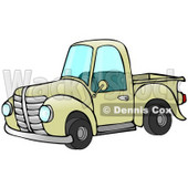Old Fashioned Yellow Pickup Truck Clipart Illustration © Dennis Cox #17544