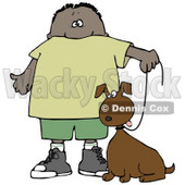 Clipart Illustration of a Little Hispanic or African American Boy Walking His Brown Mutt Dog On A Leash © Dennis Cox #17555