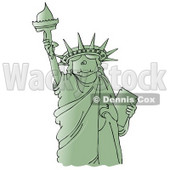 Clipart Ilustration of a Green Statue Of Liberty Smiling And Holding The Torch High Above Her Head © djart #17556