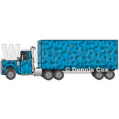 Clipart Illustration of a Blue Camouflage Semi Diesel Truck Pulling A Matching Cargo Trailer © Dennis Cox #17558