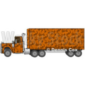 Clipart Illustration of an Orange Camouflage Big Rig Truck Pulling A Matching Cargo Trailer © Dennis Cox #17559