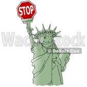 Clipart Ilustration of a Green Statue Of Liberty Smiling And Holding The Torch High Above Her Head © djart #17560