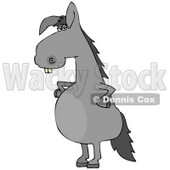 Clipart Illustration of a Funny Looking Buck Toothed Gray Donkey Standing On His Hind Legs With His Hands On His Hips © djart #17564