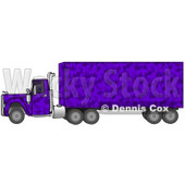 Clipart Illustration of a Purple Camo Semi Diesel Truck Pulling A Matching Cargo Trailer © Dennis Cox #17565