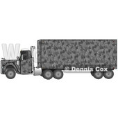 Clipart Illustration of a Gray Camouflage Big Rig Truck Pulling A Matching Cargo Trailer © Dennis Cox #17566