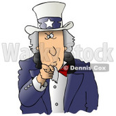 Clipart Ilustration of a Stern Uncle Sam Wearing A Hat With Stars On It And A Blue Jacket, Pointing Outwards At The Viewer © Dennis Cox #17568