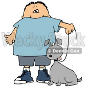 Clipart Illustration of a Little Caucasian Boy Walking His Grey Mutt Dog On A Leash © Dennis Cox #17570