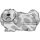 Clipart Illustration of a Spotted Gray And Tan Dog With Long Shaggy Hair, Looking At The Viewer With A Sad Or Confused Expression © Dennis Cox #17571